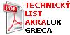 Technicky list Akralux Greca