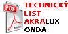Technicky list Akralux Onda